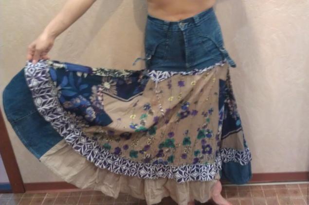 В стиле Бохо из старых джинсов и сарафана