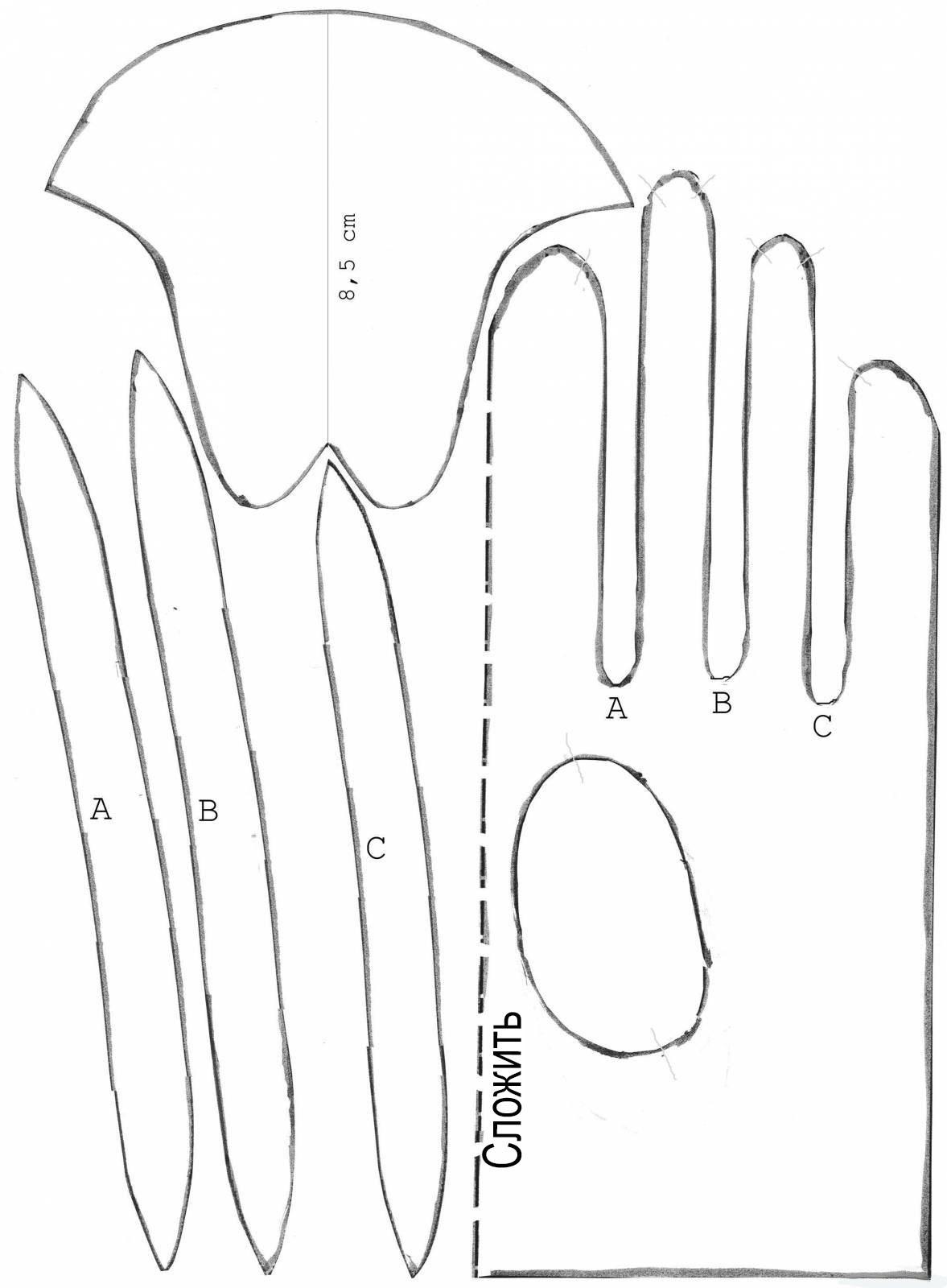 Как сделать выкройки перчаток 976