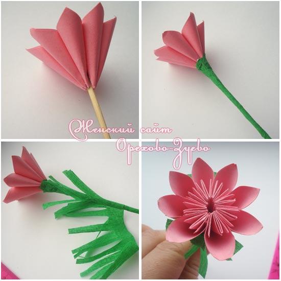 Цветок из простой бумаги своими руками