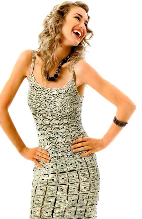 Золотистое вязаное платье