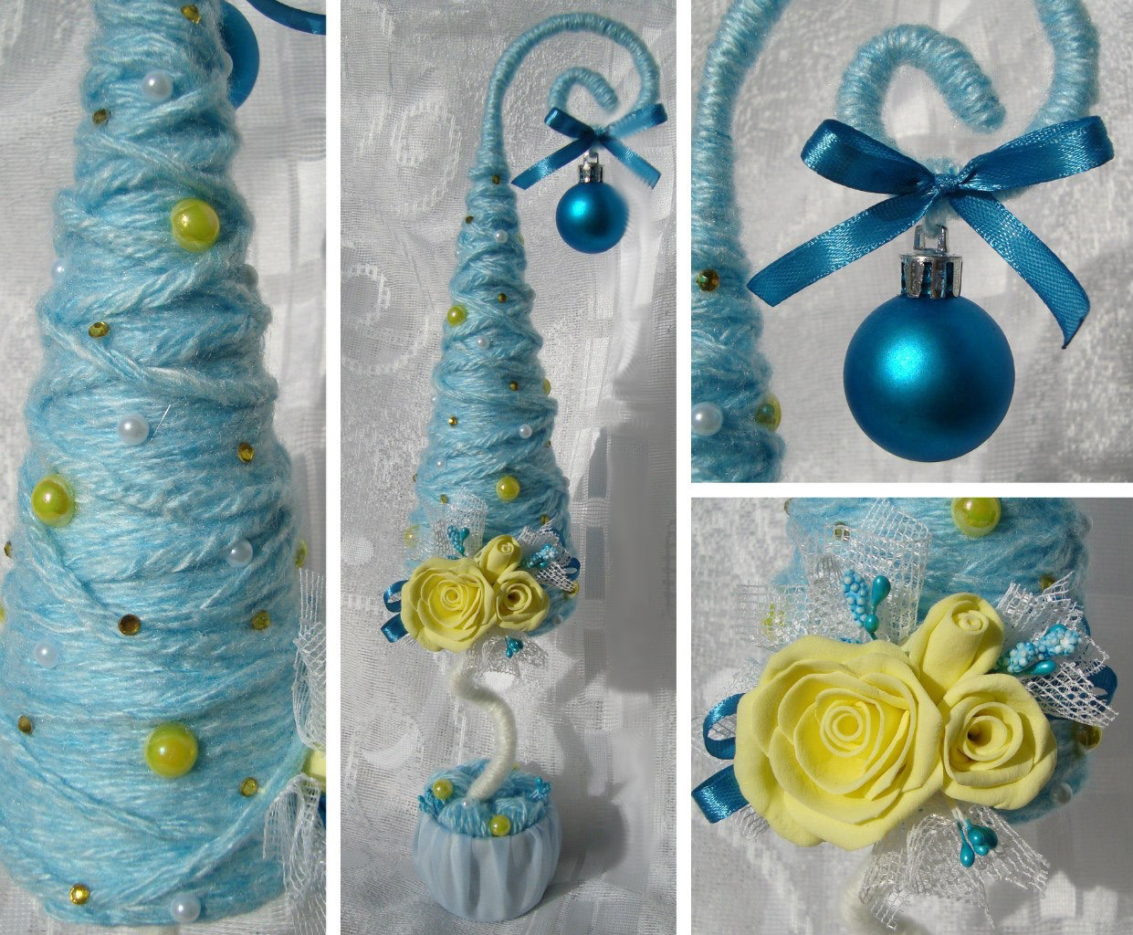 Новогодние ёлочки из пряжи, лент и полимерной глины