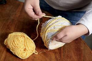 украшение горшка нитками