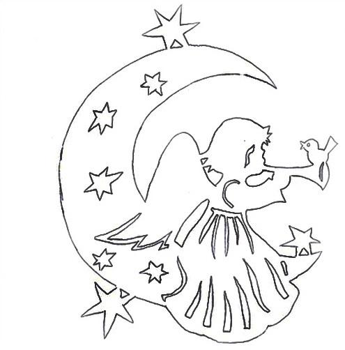 Трафарет ангелы на новый год