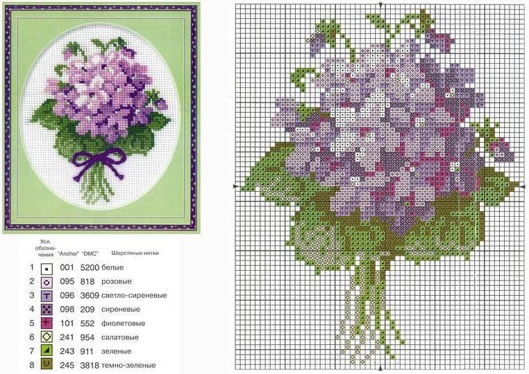 Качественные схемы крестом цветы