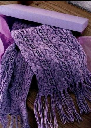 Сиреневый шарф с косами (схема)