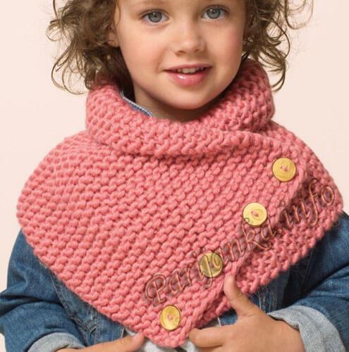 Снуд для ребёнка платочной вязкой