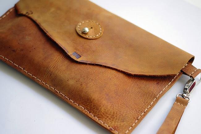 Клатч конверт из кожи пошагово