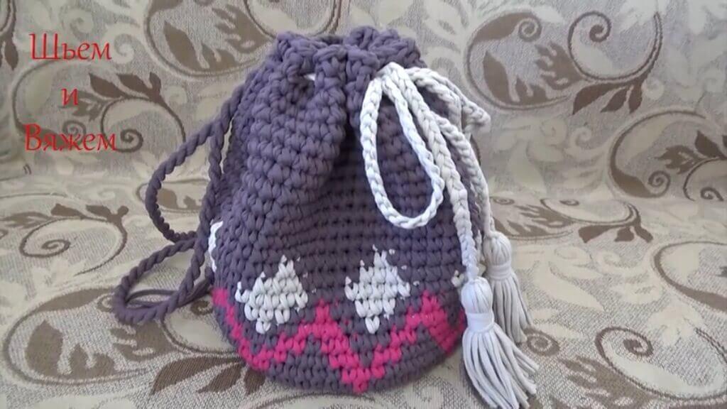 анальный крючком рюкзак из ленточной пряжи задницы