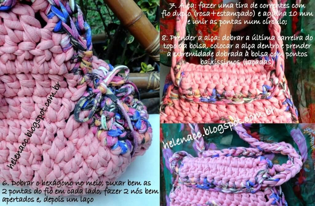 Розовый рюкзак крючком из ленточной пряжи