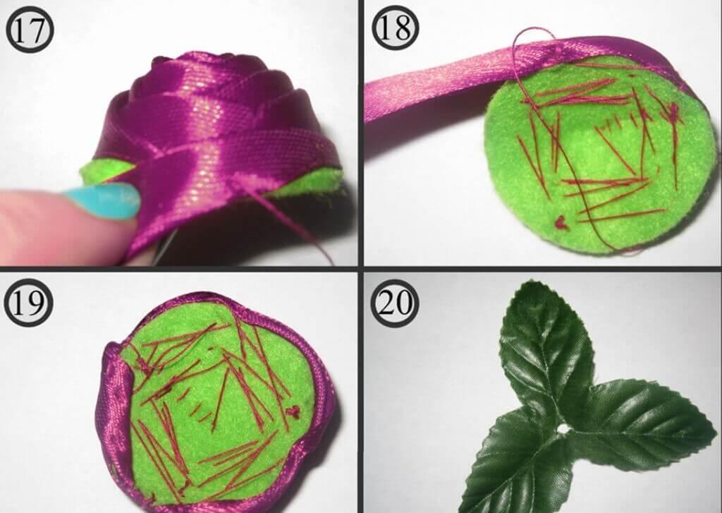 Плоская роза канзаши схемы