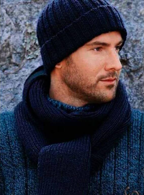 Шапка бини с отворотом и шарф - мастер-класс
