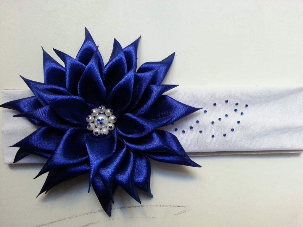 Цветок из ленты на ободок своими руками фото 23