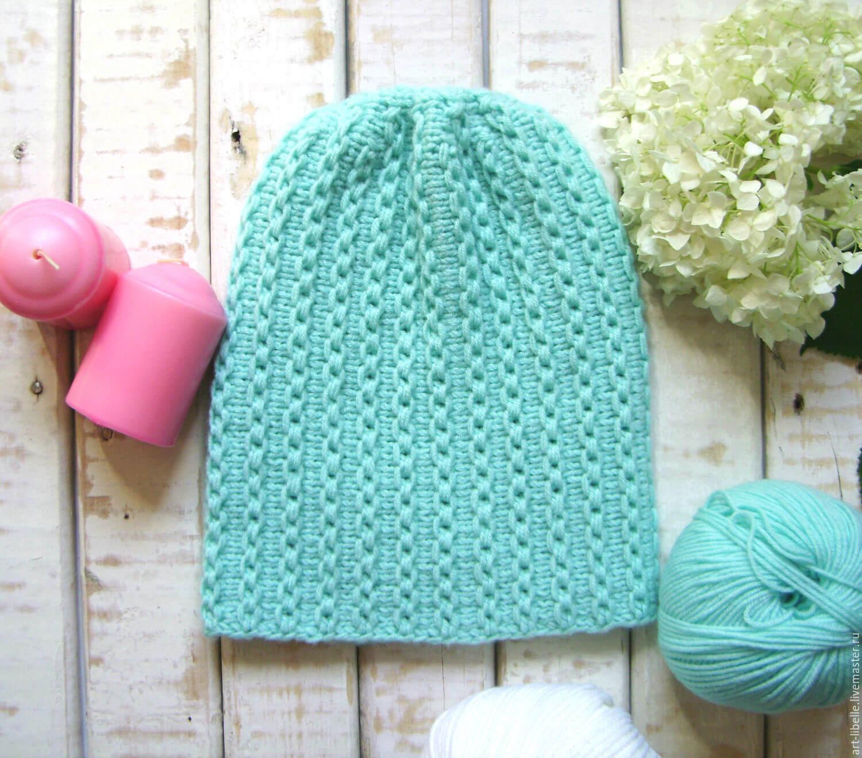 Вязание укороченными рядами шапка