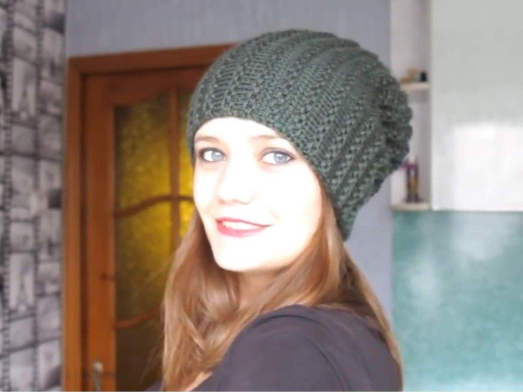 шапка бини укороченными рядами спицами схемы вязания