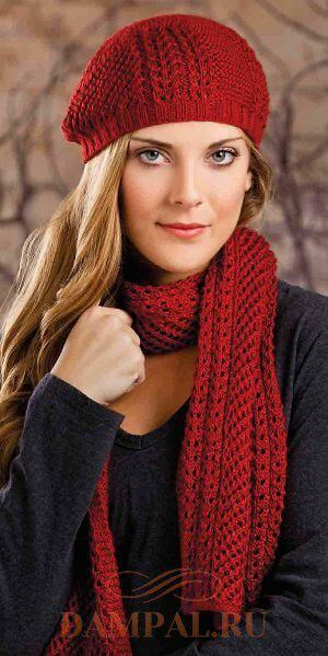 Шапка бини и шарф для леди