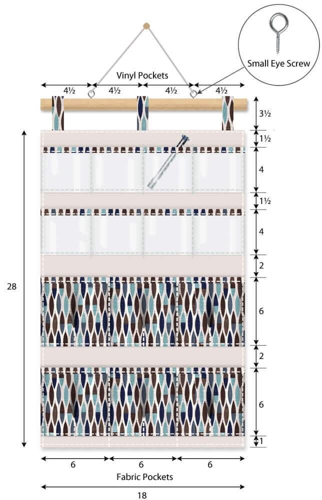 Органайзер из ткани настенный с 14 карманами - пошагово