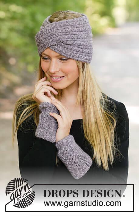 вязаная повязка на голову спицами для женщин