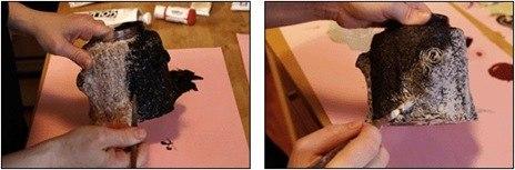 Декоративный пенёк из папье-маше
