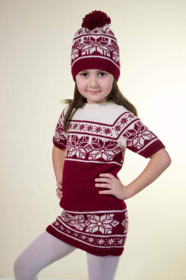 Как связать тунику и шапку спицами девочке