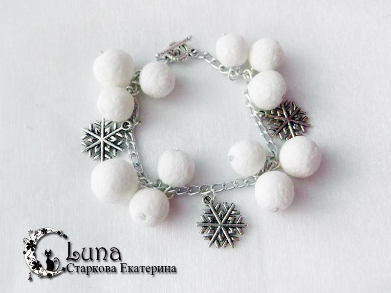 Мастер-класс - браслет Снежки