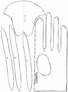 Варианты выкройки перчатки