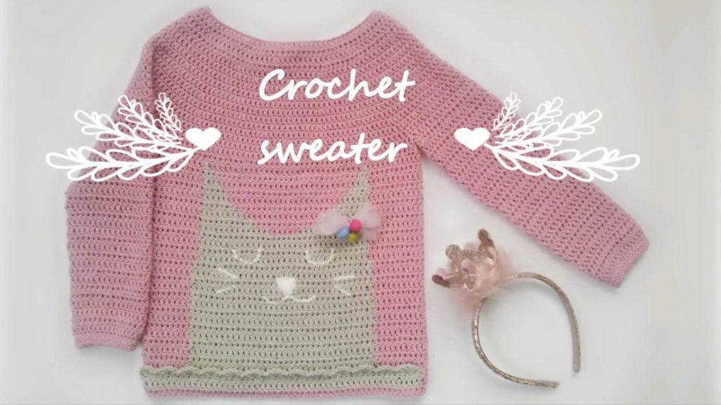 Пуловер с круглой кокеткой для девочки крючком
