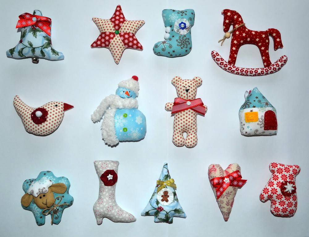Елочные игрушки из ткани своими руками фото
