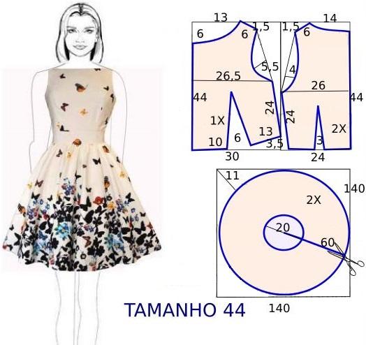 Летнее платье с юбкой солнце 4 выкройки