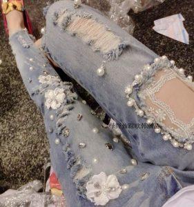 Как можно вышить джинсы бисером