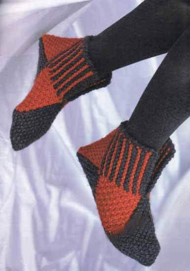 Тапочки из квадратов (мастер-класс) Вязание тапочек спицами с описанием
