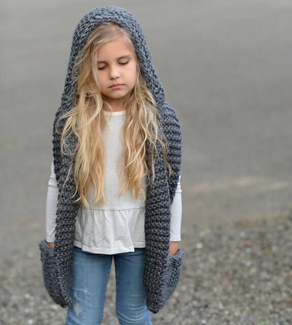 Шарф капюшон для девочки спицами (мк)