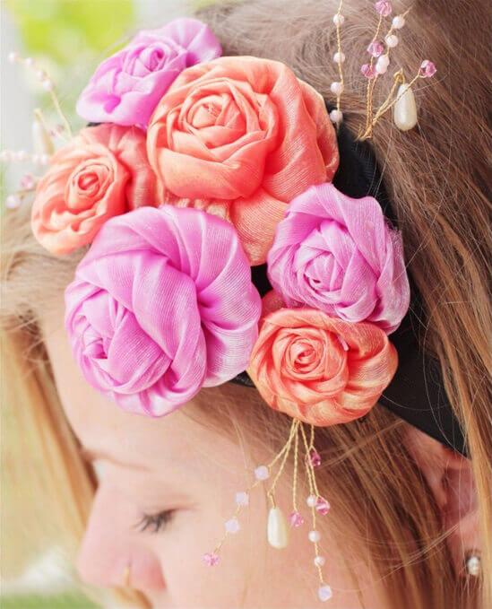 Повязка на волосы с цветами - мастер-класс