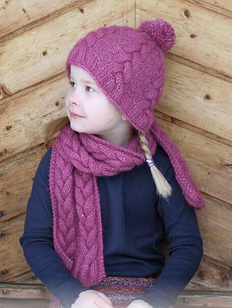 Шапочка косами и шарф для девочки