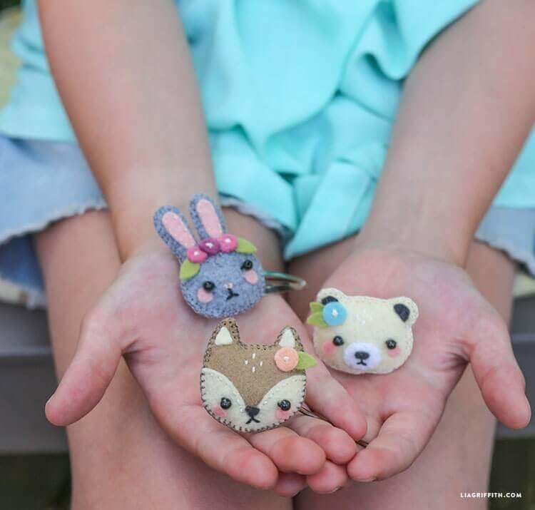 Заколка мишка, заяц, и лисичка