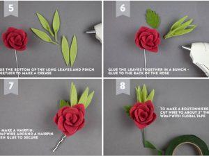 Роза с листиками на невидимке