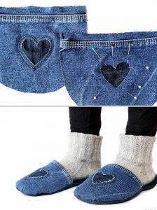 Как своими руками сшить тапки из старых джинсов - пошагово