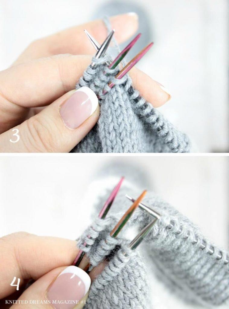 Как сделать встречную складку спицами