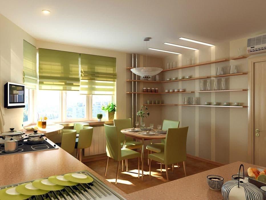 Римские шторы в интерьере кухни: особенности конструкции, правила выбора