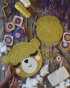 Мишка Тедди - коврик из старых футболок крючком с описанием вязания