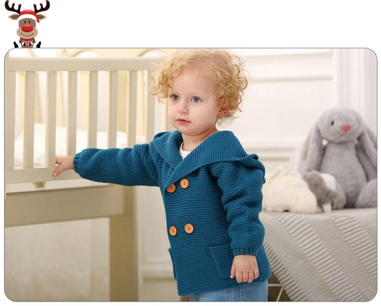 Миленький детский кардиган спицами с капюшоном - ушки на макушке!