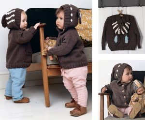 Миленький детский кардиган спицами с капюшоном платочной вязкой - ушки на макушке!